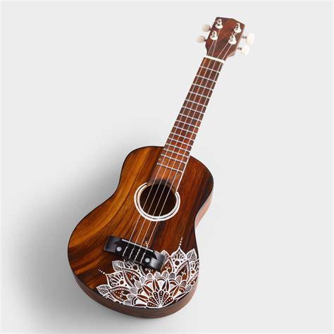 wood ukulele  mandala design  world market