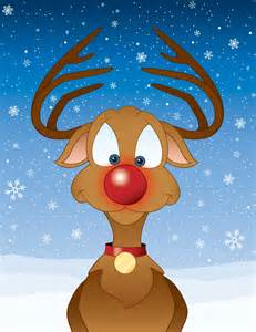 science rudolph reindeer bright red nose shows perfect father christmas