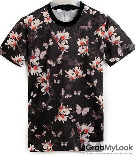 T Shirt Floral black white flowers floral neck mens sleeves t shirt