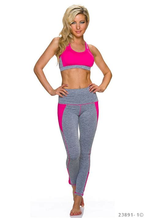 Set Leging fashion e shop set with top grey fuchsia