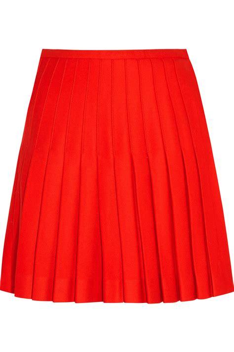 j w pleated wool wrap mini skirt in lyst