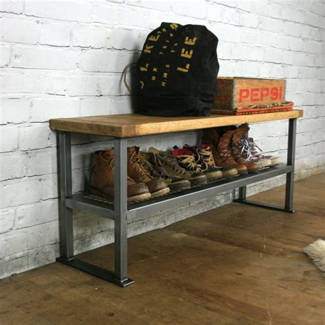 shoe benches and storage industrial rustic hallway shoe storage rack bench made to