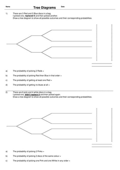 probability tree diagram worksheet probability activity investigation bundle by uk teaching
