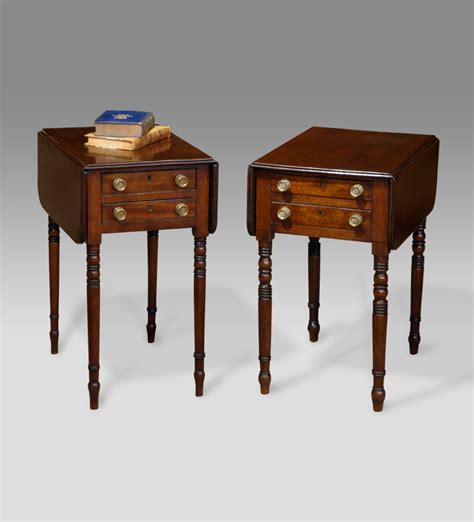 Small Side Desk Near Pair Of Mahogany Work Tables Bedside Tables Pair Of Antique Bedside Tables Antique