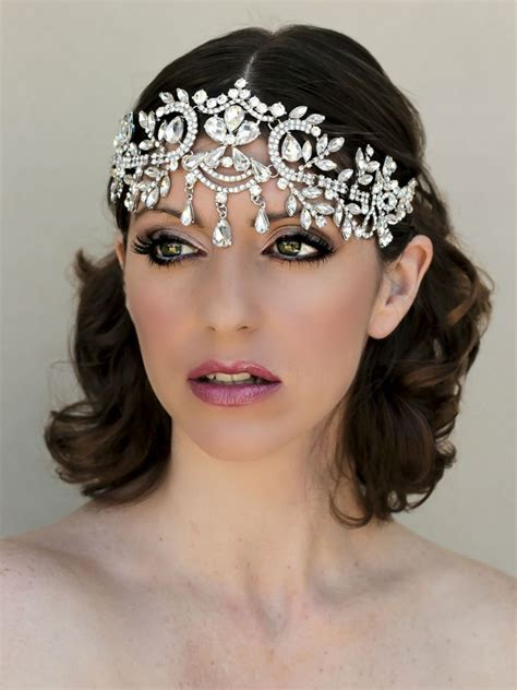 5 Bridal Hair Accessories To by Dramatic Rhinestone Bridal Forehead Headpiece Samiya