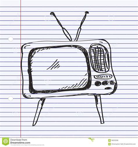 doodle tv scarabocchio semplice di una televisione illustrazione