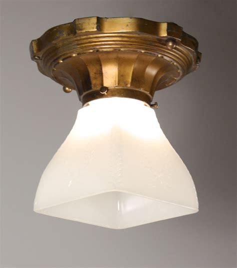 Antique Light Fixtures For Sale Wonderful Antique Flush Mount Light Fixture With Glass Shade Nc981 For Sale Antiques
