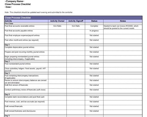 monthly accounts excel template accounting book closing checklist