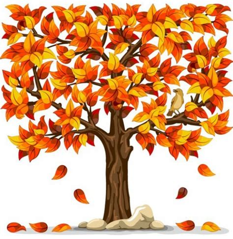 orange autumn tree falling leaves illustration welovesolo