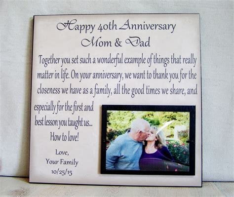 Anniversary Picture Frame Gift 40th Anniversary 30th