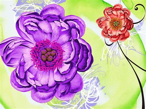 design flower paintings artistic hand drawn floral illustration 7 wallcoo net