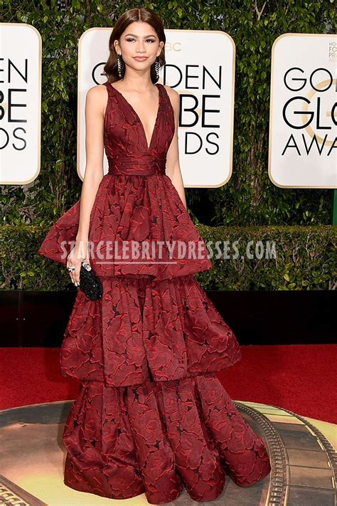 Carpet Dresses by Zendaya Stuns At 2016 Golden Globes In Plunging Oxblood