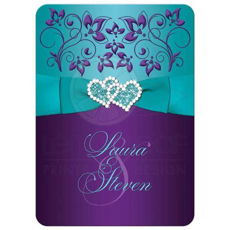 rack cards purple and turquoise template wedding invitation purple aqua white floral printed