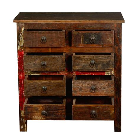 rustic reclaimed wood 8 drawer dresser bedroom chest