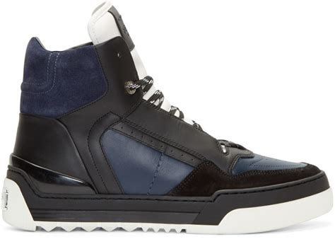 fendi high top sneakers fendi navy leather tank high top sneakers in blue for