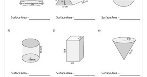 printable math worksheets surface area mixed shapes surface area of mixed shapes 6th grade math pinterest