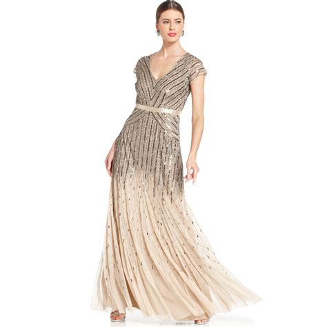 beaded gown papell capsleeve beaded sequined gown in beige