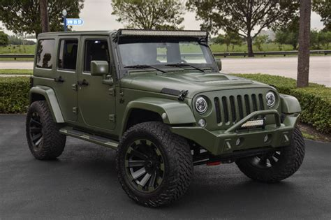 Matte Green Jeep Spotlight Custom Matte Green Jeep Wrangler