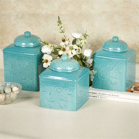 turquoise kitchen canister set