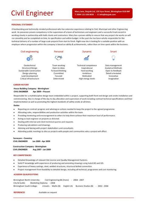 Resume Templates For Engineering Civil Engineer Resume Template