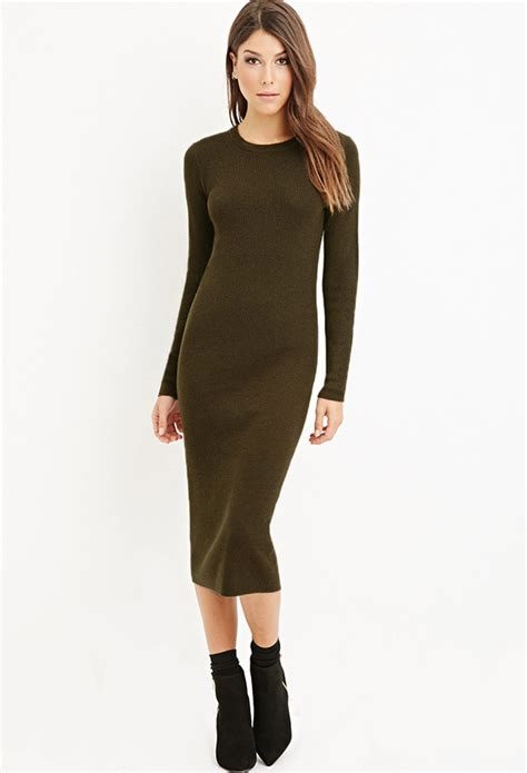 Knit Midi Dress forever 21 ribbed knit midi dress in green olive lyst