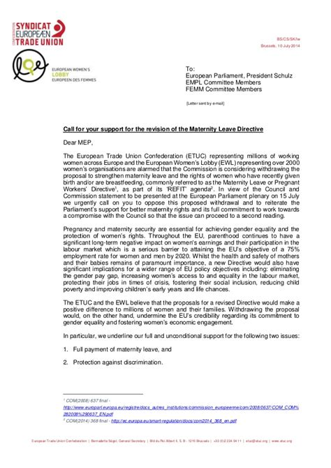 Withdrawal Letter From Union 20140710 Etuc Ewl Letter On Threats To Withdraw The Maternity Leave D