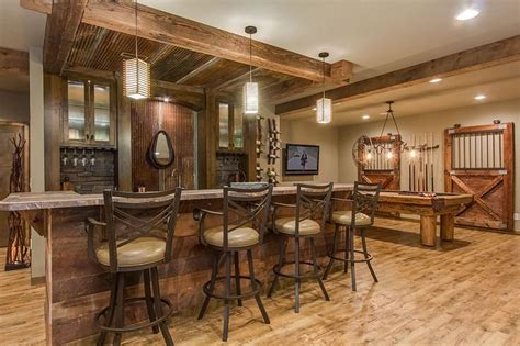 basement combines rustic  luxury materials