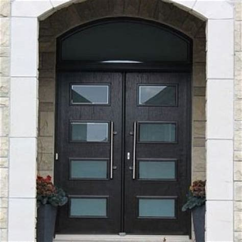 modern contemporary front entry wood doors  transom