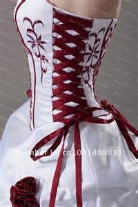 Red corset wedding dress i kind of love it reminds me of snow