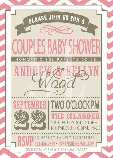 Co Ed Baby Shower Wording by On Sale Couples Baby Shower Invitation