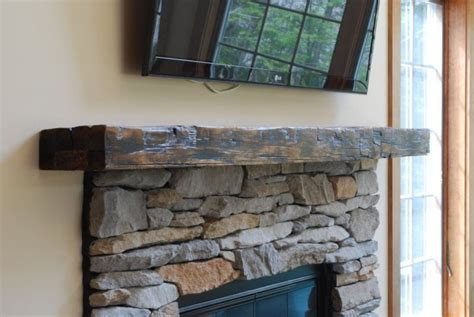 hand crafted reclaimed beam mantle by larue woodworking