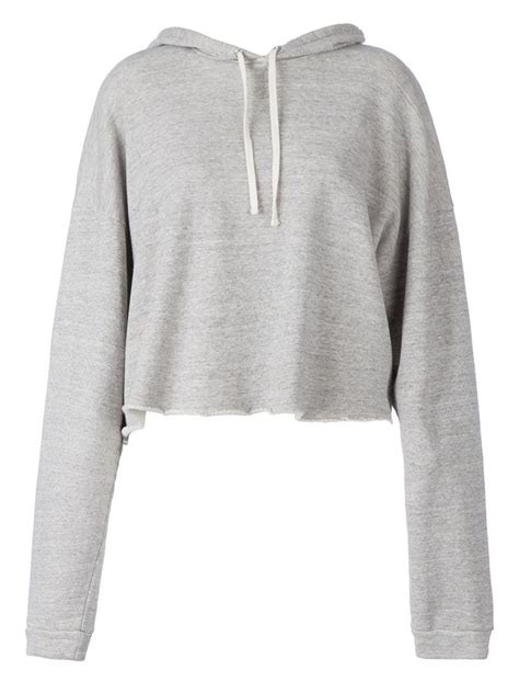 Sweater Crop Hoodie faith connexion cropped hoodie in gray grey lyst