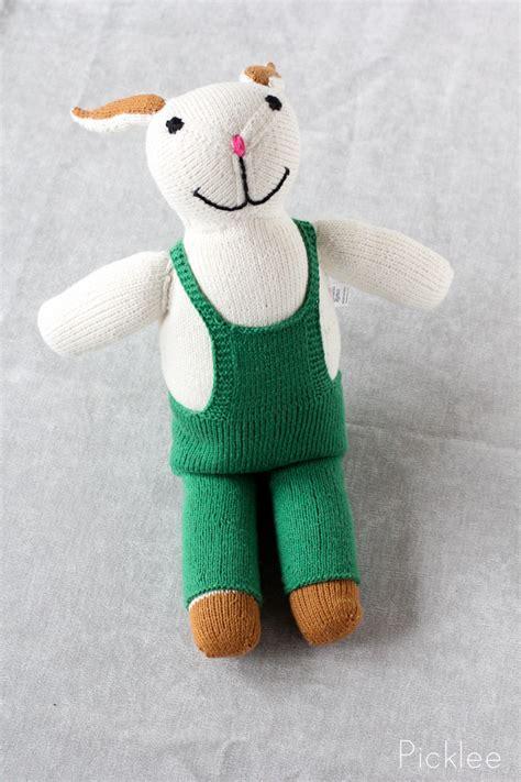 Handmade Stuffed Bunny - handmade green stuffed rabbit picklee on