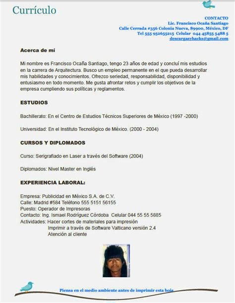 Curriculum Vitae Modelo Para Completar Docente Curriculum Vitae Formato Para Llenar Sencillo Para Llenar Resume Template Cover Letter