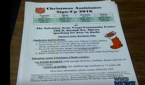 programs for the needy at christmas salvation army seeking volunteers and families in need for assistance program wbkb11