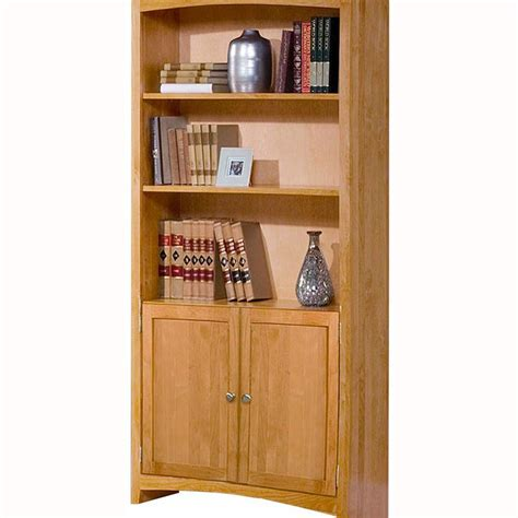 Wide Bookcase With Doors Alder Shaker 30 Quot Wide Bookcase With Doors