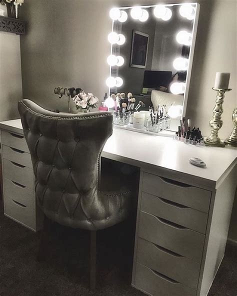 vanity table and chair with lights this white and silver impressionsvanityglowxl