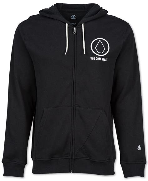 Hoodie Zipper The Division Logo Station Apparel volcom s stray zip graphic print logo hoodie in black for lyst