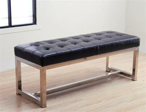 modern leather bench liberty black leather bench contemporary indoor benches by overstock com