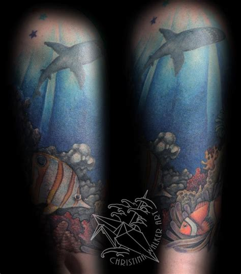 ocean sleeve tattoo designs half sleeve by walker tattoos