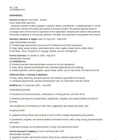 Resume For Home Health Aide by 7 Sle Home Health Aide Resumes Sle Templates