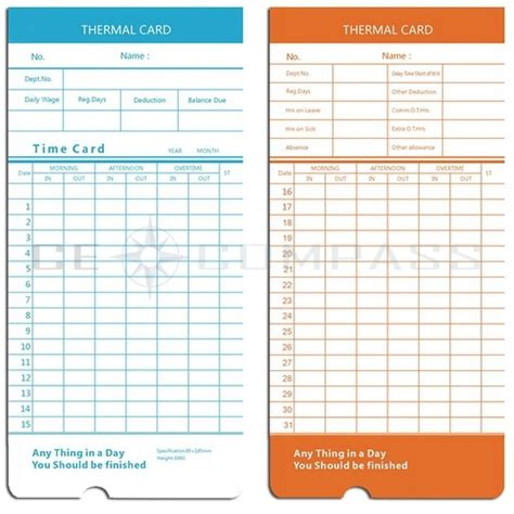 Non Union Time Card Template by 100x Monthly Time Clock Cards For Attendance Payroll