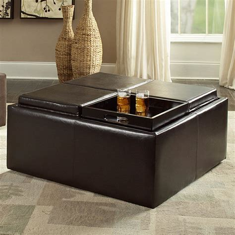 center table with ottoman inspire q coffee table ottoman with 4 trays in faux
