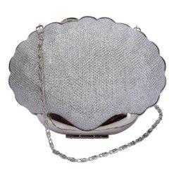 Shell Shape Clutch silver diamante beaded clutch bag wedding prom
