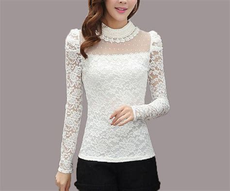 Dnesya Lace Top B L F white lace blouses fashion ql