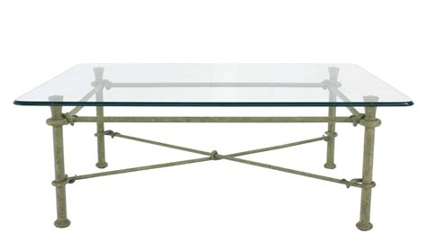 rectangle wrought iron base glass top coffee table for