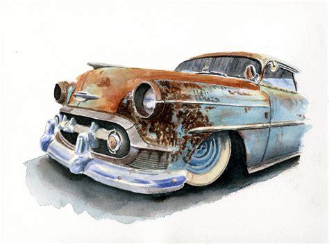 hot paint hot rod art in watercolors it s hot rod paintings