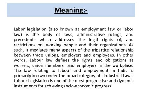 Industrial Relations And Labour Laws Mba Notes by Labour Legislations