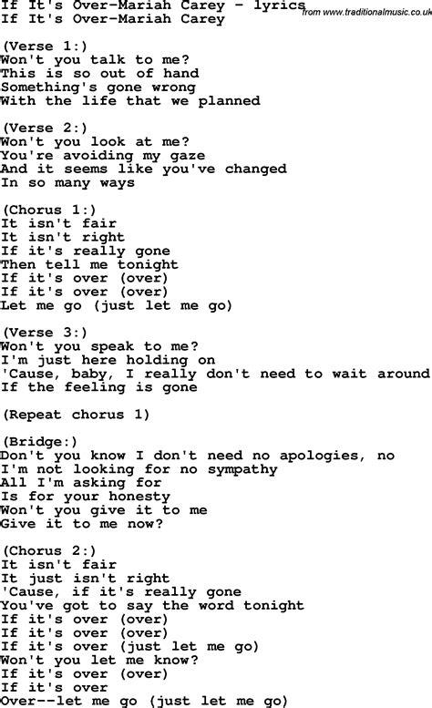 lyrics carey song lyrics for if it s carey