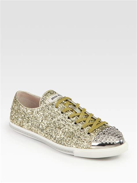 miu miu sparkle sneakers lyst miu miu glitter studded leather sneakers in metallic